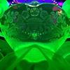 {Vintage} Debra bowl Vaseline glo-glass
