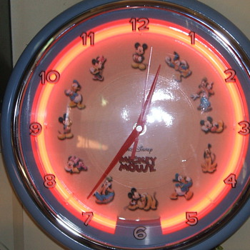 Neon lighted Mickey Clock