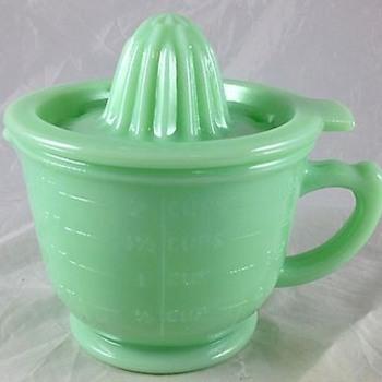 McKee glass jadeite juice reamer and measuring cup