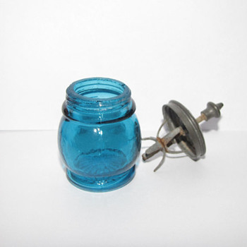 Sandwich Glass Christmas Salts ( Blue) - Glassware