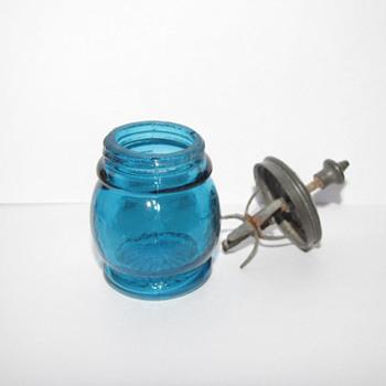 Sandwich Glass Christmas Salts ( Blue) - Glassware