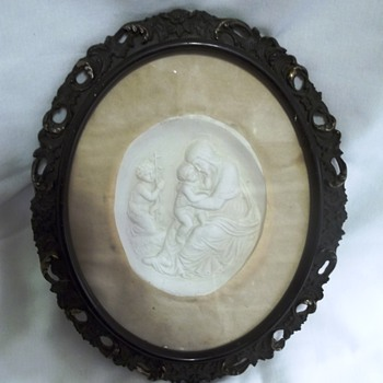 Religious Plaster Picture, Madonna with Child? - Victorian Era