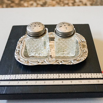 Crystal & Silver Plate Salt & Pepper Shakers with Tray - Kitchen