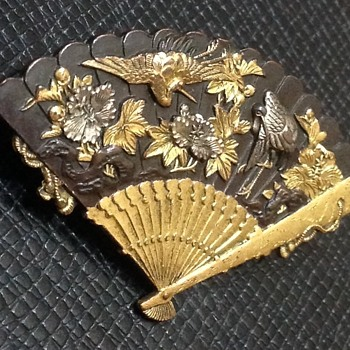 Japanese Shakudo Brooch - Asian