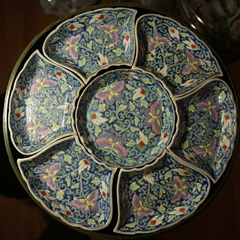Chinese porcelain in a Japanese Laquer Box from Gumps?