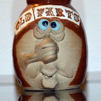"""Old Farts"" Miniature Funny Face Jug - Art Pottery"