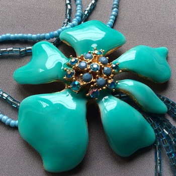 Enamel  and glass necklace - Costume Jewelry