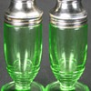 Vintage Art Deco Green Vaseline Uranium Depression Glass Salt & Pepper Shakers