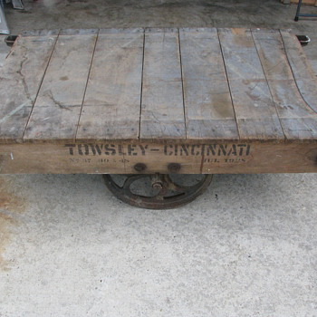 TOWSLEY-CINCINNATI Factory Cart, Dated JULY 1928.  Original stenciling on both sides and origional deck boards