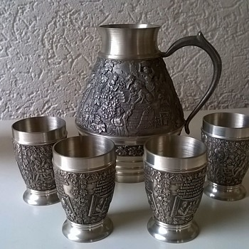Zinn Becker Stuttgart Filigree Engraved Pewter Mini Pitcher Set Thrift Shop Find $7.50