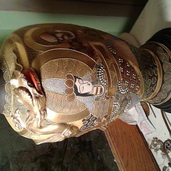 Antique Satsuma Dragon Lamp - Lamps