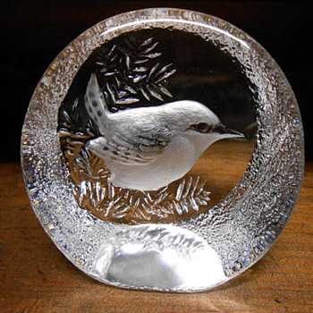 Vintage Mats Johasson Signed & Numbered Crystal Paperweight - Glassware