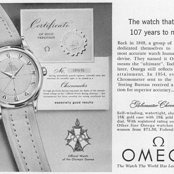 "1955 - Omega ""Globemaster"" Watch Advertisement - Advertising"