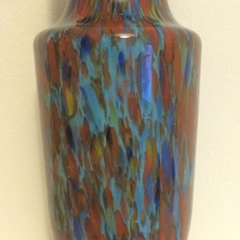 Blue cased spatter glass Art Deco vase