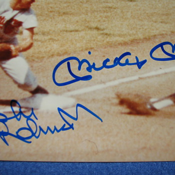 Mickey Mantle and Brooks Robinson Hand Signed Photo