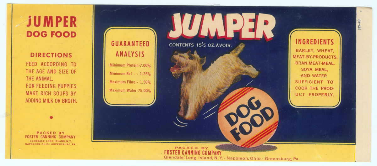 Vintage Dog Food Can Label