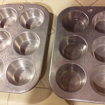 pair of old aluminum MUFFINAIRE cupcake pans
