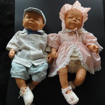 "Vintage Berjusa Baby Girl & Boy Dolls Realistic Anatomically Correct 20"" 1985"