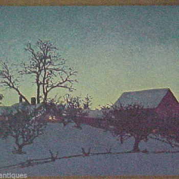 Maxfield Parrish ~ Winter Twilght ~ Holiday Card to EVERYONE @ CW! - Posters and Prints