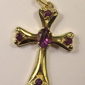 14k Vintage Amethyst Cross Pendant - Fine Jewelry