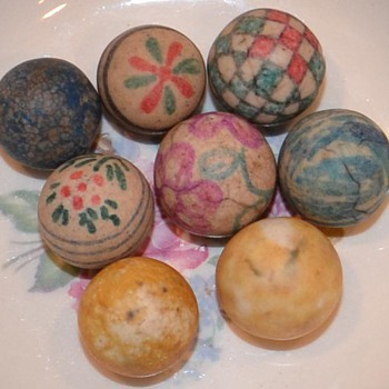 Might be Fake Antique painted marbles - Art Glass