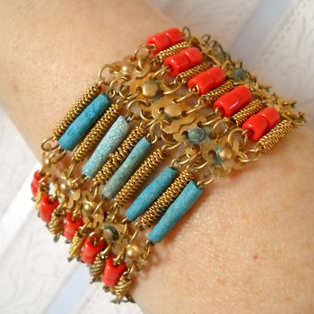 Egyptian? Beaded Bracelet Earring set