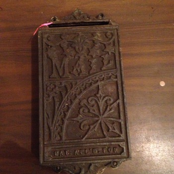 Unknow year or Mfg. Cast Iron Antique Mail Box, Opening on the left side.  Stamped- PAT. Applied FOR.