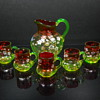 Rubina Verde Dogwood Enameled pitcher and mug set