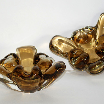 Pair of Art Glass Ashtrays or Flower Bowl