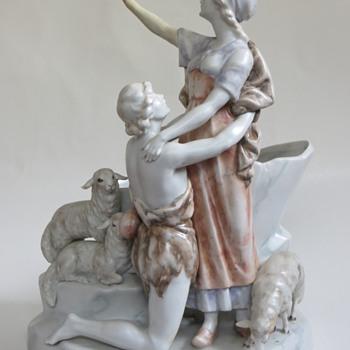 Antique German Porcelian Woman w/adoring Shepherd~Romantic, Kronach?