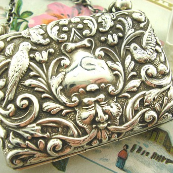 Rare Green Man Art Nouveau Edwardian Silver Purse
