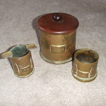 WW2 Trench Art smoking set - Military and Wartime