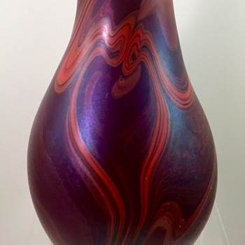 Early James Lundberg marbled vase, signed and dated 1972