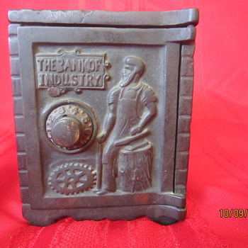1900 Cast Iron Kenton Brand The Bank of Industry Combination Coin Safe Bank - Coin Operated