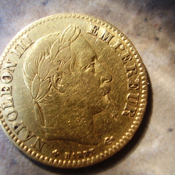 A Gold French 10 Franc coin (Napoleon era)