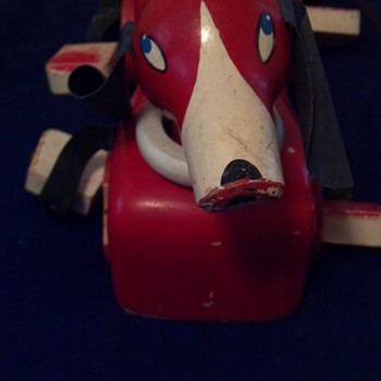 Red Dog Pull Toy Brio Toy Company Sweden pre 1950s?? - Toys