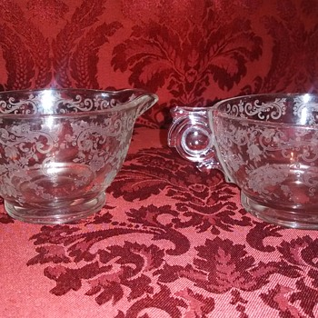 Unusual etched creamer and sugar - Glassware