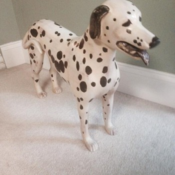 Vintage Handcrafted Wood Carved Standing Dalmatian Dog