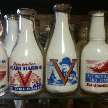 Variety of 2 color war slogans including a Churchill example, Remember Pearl Harbor..... - Bottles