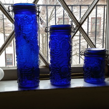 Vintage blue canister kitchen jars