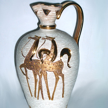 Elbee Italian Golden Horse Pottery Jug - Art Pottery