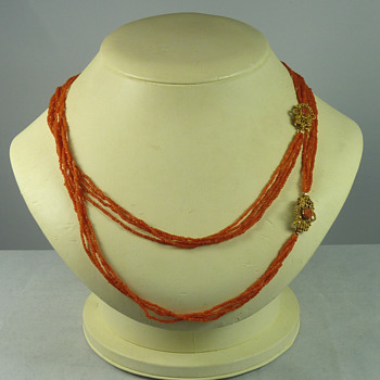Pair of Regency Period Coral Necklaces with Conjoining Gold Clasps