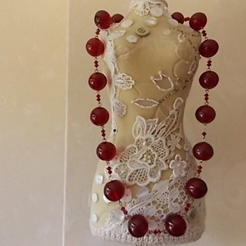 wonderful Czech red glass bubble bead necklace - Art Deco
