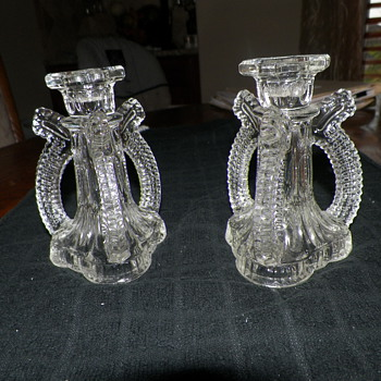 Rare Vntg Art Deco Clear Glass 3-sided Hollow Candlestick Holders, Hexagonal Top
