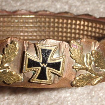 WW1 German Trench Art driving band bracelet with Iron Cross