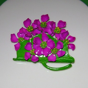 Enameled Flower Pin - Costume Jewelry
