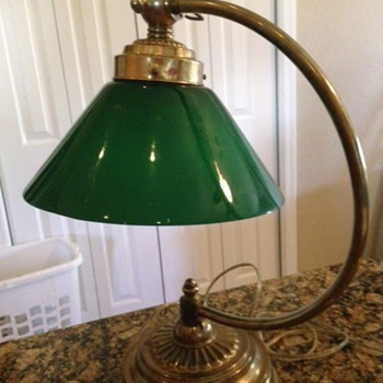 Bankers Lamp with Emeralite Cone Shaped Shade, Goose Necked.  - Lamps