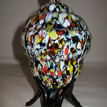 Kralik Covered Candy Dish End of Day Mottled Glass Art Deco Czechoslovakia - Art Glass