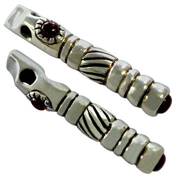 Artistic Silver Whistle with Garnets - Musical Instruments