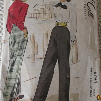 1947 Womens slacks pattern - Sewing